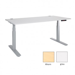 Jeco höhenverstellbarer Schreibtisch - Ergonomischer Steh-Sitz Tisch mit Memory Funktion - ahorn oder grau - höhenverstellbar von 61-125 cm - verschiedene Tischgrößen