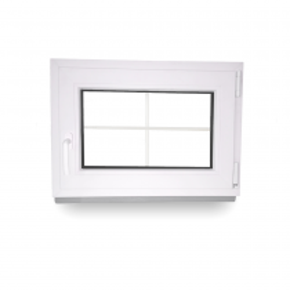 Sprossenfenster - Breite 50 bis 120 cm - Höhe 50 bis 70 cm - Anschlag rechts oder links - 2-fach-Verglasung - Economy Line - 60 mm - 4 Kammern