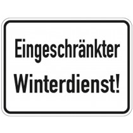 Hinweisschild, Eingeschränkter Winterdienst, Alu, 400x300 mm