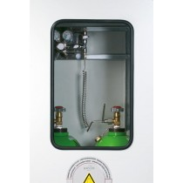 Druckgasflaschenschrank mit Fenster, zur Außenaufstellung, 5 Flaschenplätze, BxTxH 1350x400x2150 mm, verzinkt + RAL 7035