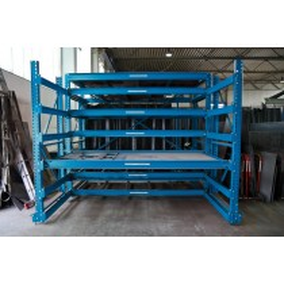 Schubfachregal mit starrem Vorbau, Großformatbleche, Fachlast 3000 kg, 7 Rollböden pro Feld, BxTxH 3300x3050x2400 mm, RAL 7035 lichtgrau