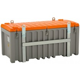 Cemo Materialbox, kranbar, Polyethylen, grau/orange, Volumen 750 l, BxTxH 1700x860x800 mm, Gewicht 75 kg, ohne Seitentür, 10337