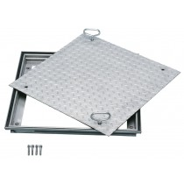 Stahl-Schachtabdeckung - verzinkt - mit Deckelplatte aus Tränenblech