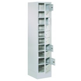 Wäscheschrank - 10 Fächer und Haupttür mit Zylinderschloss - BxTxH 400x500x1850 mm - Sockel / Füße