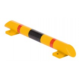 Rammschutz-Balken, Spezialkunststoff, Länge 800 mm, Durchm. 80 mm, gelb mit schwarz/roten Streifen