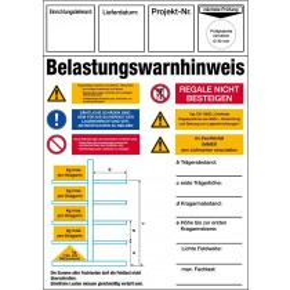 Regal-Belastungswarnhinweis, nach DIN EN 15636, für Kragarmregal, BxH 210x297 mm