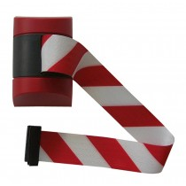 Wandkassette für Rollgurte, Wandfixierung inkl. Wandanschluss, Gehäuse Kunststoff Rot, Gurt 4,60 m, rot/weiß
