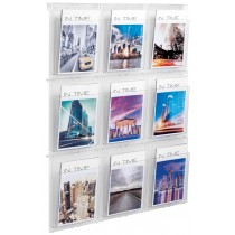Wand-Display, 9xDIN A4, BxTxH 852x59x978 mm, glasklar, inkl. Montageschiene + Befestigungsmaterial