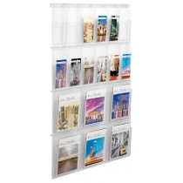 Wand-Display, 6xDIN A4 + 12x1/3 DIN A4, BxTxH 852x59x1304 mm, glasklar, inkl. Montageschiene + Befestigungsmaterial