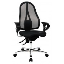 Bürodrehstuhl - Sitz-BxTxH 480x440x430-540 mm - Lehnenh. 550-600 mm - Permanentkont. Orthositz m. Body-Balance-Tec - inkl. Armlehnen - schwarz/ blau/ lila