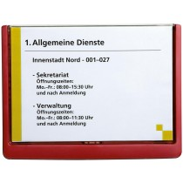Türschild aus ABS, Sichtfenster Acryl, Klick-Funktion, BxH 210x148,5 mm (DIN A5), Rahmenfarbe rot, VE 3 Stück
