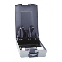 Präz.-Schälaufbohrer-Satz HSS 4tlg. in Kunststoffkassette (Rose-Box) 3 - 30 mm