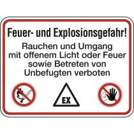 Hinweisschild, Brandschutzkennzeichnung, Feuer und Explosionsgefahr, Alu, 400x300 mm