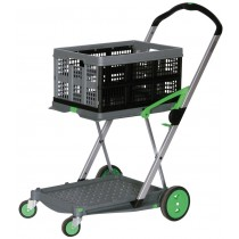 Klappwagen, LxBxH 890x550x1025 mm, zusammengeklappt 670x470x110 mm, 2 Ladeflächen, 1 Faltbox, Farbe anthrazit/grün