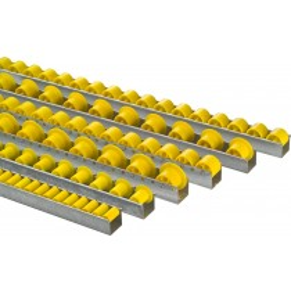 Röllchen-U-Leisten, Profil 26x29x26 mm, verzinkt, Kunststoffrolle mit Spurkranz, Durchm. 18/28 mm, Traglast 6 kg/Rolle, Achsabstand 50 mm