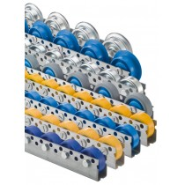 Universal-Rollenschiene, Profil 44x28x44x2 mm, verzinkt, Stahlrollen mit Kugellager, Traglast 20 kg/Rolle, Bauhöhe 53 mm, Achsabstand 125 mm