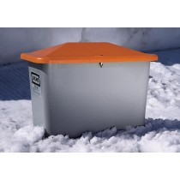 Cemo Streugutbehälter 2200 l, Außenmaß BxTxH 2130x1520 x1240 mm, ohne Entnahmeöffnung, Korpus grau, Deckel orange, 7439