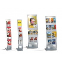 Infoständer, zur Aufnahme von DIN A4 bis DIN A2 Wechelrahmen/Prospekthaltern, BxTxH 520x460x1650 mm, alusilber