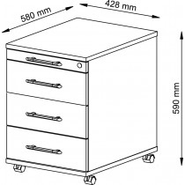 Hammerbacher Rollcontainer, BxTxH 428x580x590 mm, 1 Utensilienschub, 3 Schubladen, Schloss, weiß, VAC30/W/W/SG