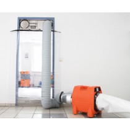 Staubschutz Komplettsystem Staubabsaugungssystem PV 3000 - Staubschutztür - mit Staub-Ventilator mit Energiezähler mit Leistungsstarkem Motor und Stundenzähler