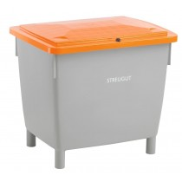 Universal- und Streugutbehälter aus HDPE, Korpus grau, Deckel orange, abschließbar, ohne Entnahmeöffnung, Vol. 400 l, BxTxH 945x725x930 mm