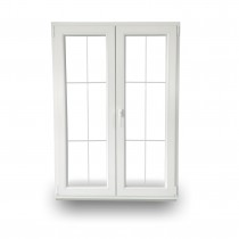 Balkontür - PVC - Stulp - Sprossen - 6 Felder - DKL/DR - 2-fach-Verglasung - 60mm Profil - Abmessung nach Wahl